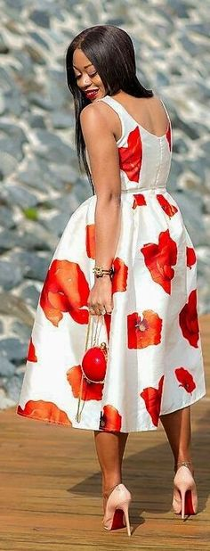 Poppy Print Dress Chic Style