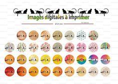 """Images digitales planche N°2""""chat noir sur branche'' : 50 Images digitales cabochons ronds 18 mm et 25 mm : Images digitales pour bijoux par safamod-perles"""