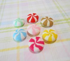 Peppermint Candy Cabochon Set - Phone Decoden Cabochons - Clay Candy Cabochon- Candy Mix - (7 pcs )-  Decoden Cabochons, Flatback Cabochon