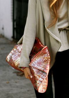 Cool textured purse with the most interesting colors. Me like.