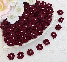 Dunkel Rot 25mm Satinband Blumen mit Strass Mitte, Craft…