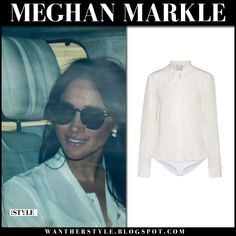 Meghan Markle in white shirt and sunglasses #fashion #style #royalfamily #outfit #celebrity