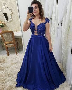 Royal Blue Long Prom Dresses with Appliques, CR 867 Royal Blue Prom Dresses, Gala Dresses, Cute Dresses, Beautiful Dresses, Evening Dresses, Formal Dresses, The Dress, Dress For You, Marie