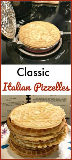 Classic Italian Pizzelles Classic Italian Pizzelles are delicate, thin, crisp, and wafer-like cookies. They are lightly sweet with plenty of the traditional anise flavor but vanilla pizzelles are just as delicious, if you're not a fan of anise. Italian Cookie Recipes, Italian Cookies, Italian Desserts, Italian Dishes, Old Italian Recipes, Italian Snacks, Italian Drinks, French Cookies, Italian Menu