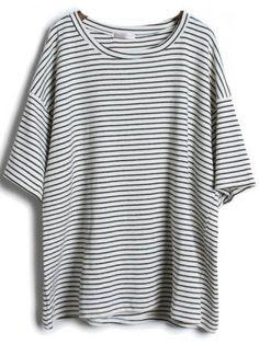 Grey Short Sleeve Striped Loose T-Shirt