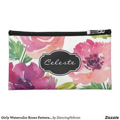 Girly Watercolor Roses Pattern Monogram Makeup Bag - A lovely feminine watercolor roses pattern in shades of pink and purple with custom monogram. Sold at DancingPelican on Zazzle.