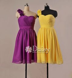 Custom Purple Bridesmaid Dress,Banana Yellow Chiffon Bridesmaid Dress,Short Gray Bridesmaid Dress,Custom Quality Bridesmaid Dress(BM032102)