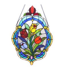 Chloe Lighting Tiffany Style Tulip Window Panel CH1P085BF22-GPN #ChloeLighting #StainedGlass