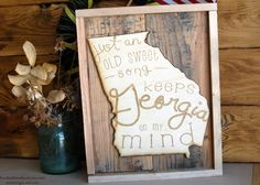 Georgia on my Mind Wooden Upcyled Sign by artxidesigns on Etsy