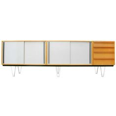 Alfred Altherr; Beech, Lacquered Wood and Steel Sideboard for Behr, 1957.
