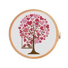 Tree Hearts Cross stitch pattern by PatternsCrossStitch on Etsy