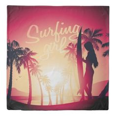 Surfing girl at sunrise duvet cover - home gifts ideas decor special unique custom individual customized individualized