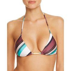 ViX Vintage Stripe Triangle Bikini Top ($92) ❤ liked on Polyvore featuring swimwear, bikinis, bikini tops, white, white bikini, swim tops, vintage bikini, vintage swimwear and white triangle bikini