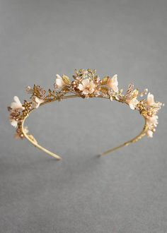 Wild Flowers_gold and blush floral wedding crown 1 wedding dresses floral crowns Wild Flowers Bridal Tiara, Headpiece Wedding, Gold Wedding Crowns, Wedding Veils, Wedding Tiaras, Hair Wedding, Bridal Headpieces, Boho Headpiece, Wedding Bride