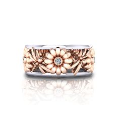 Wedding Jewelry Daisy Dragonfly Wedding Ring - Expertly crafted from white and rose gold in America by the jewelry artisans at Jewelry Designs. Dragonfly Wedding, Dragonfly Jewelry, Dragonfly Art, Wedding Jewelry, Wedding Rings, Wedding Gold, Wedding Sets, Women Jewelry, Fashion Jewelry