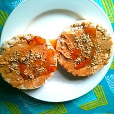 One of my favorite snacks! Rice cake, cashew butter, hemp seeds and a drizzle of maple syrup. Mmmmmmmm.