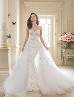 Romantic Sweetheart Lace Mermaid Wedding Dress 2016 Sexy Backless Bridal Gowns With Detachable Train Robe de Mariage