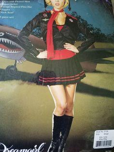Pilot Bombadeer Costume Adult Womens Sexy Pin-up Girl Halloween  #Dreamgirl #DressJacketPilotHatGoogles #HalloweenCostume