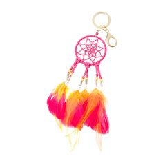 Pink Faux Suede Dream Catcher  Key Ring