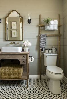 How Gorgeous Is This Rustic, Neutral Bathroom   Love That Ladder Shelf! |  Jenna