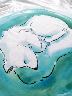 Njálla Arctic Fox Northern Lights Hand-painted T-shirt by rozihathaway on Etsy