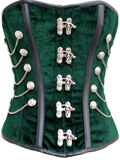 The Violet Vixen - Sherlock Emerald Velvet Green Corset, $116.38 (http://thevioletvixen.com/test/corsets/sherlock-emerald-velvet/) More vampire than goth I guess with this crushed green velvet fabric, antique silver clasps for the front closure and strong cord lacing of course!