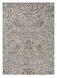Strawberry Thief x Rug in Ink All rugs are hand-tufted. Drop ship in days. Backing Material: cotton and latex. Morris Homes, Victorian Design, Textiles, Burke Decor, Home Rugs, William Morris, Outdoor Rugs, Indoor Outdoor, Woven Rug