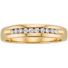 1/4 ct. tw. Diamond Men's Wedding Band in 14K Yellow Gold ($649) ❤ liked on Polyvore featuring men's fashion, men's jewelry, men's rings, white, mens gold diamond rings, mens white gold diamond ring, mens rings, mens white gold rings and mens band rings