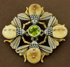 Art Nouveau Sterling Silver, Gold-Filled Fossilized Walrus Ivory and Peridot Bee Brooch by Zealandia