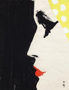 thefiftyeight:  Rene Gruau - Cover of International Textiles, 1960