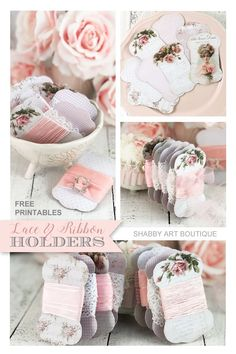 Free printable lace and ribbon holders and a tutorial from Shabby Art Boutique Ribbon Holders, Thread Holder, Printable Designs, Free Printables, Freebies Printable, Printable Paper, Fabric Labels, Shabby Chic Crafts, How To Make Ribbon