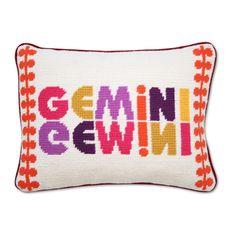 Gemini Zodiac Needlepoint Throw Pillow