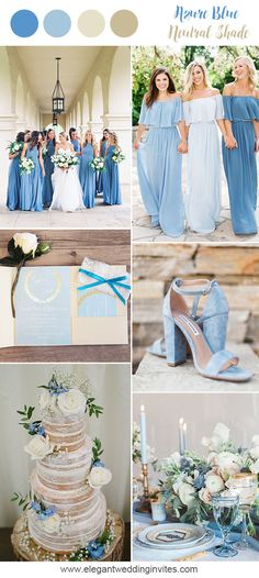 dusty blue romantic nautral wedding colors for spring and summer wedding colors september / fall color wedding ideas / color schemes wedding summer / wedding in september / wedding fall colors Spring Wedding Colors, Wedding Summer, Wedding Blue, Rustic Wedding, Summer Colors, Summer Themes, Spring Theme, Garden Wedding, Dusty Blue Weddings