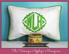 The Veronique Applique Framed Monogrammed Pillow by calicodaisy