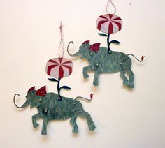 Christmas Decorations 2 Elephant Paper Puppet by ArtistInLALALand, $10.00