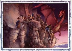 smaug s fury the hobbit interior illustration watercolor giclee print ...