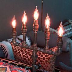 MADE TO ORDER Steampunk Vintage Candelabra Pipe Lamp with | Etsy Steampunk, Pipe Lamp, Vintage Industrial, Candelabra, Chandelier Lighting, Whisky, Lamp Light, Candle Holders, Bottle