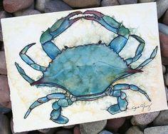 Blue Crab Watercolor- Original Watercolor and Ink, Painting, Illustration, Art, Print, Wall Decor