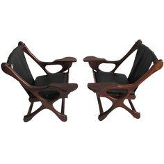 Don Shoemaker Cocobolo Sling Swinger Chairs | 1stdibs.com