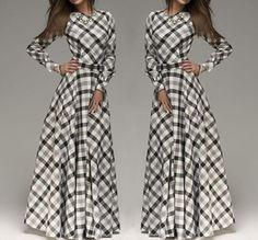 White Plaid Pleated Belt Long Sleeve Maxi Dress