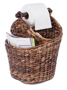 AmazonSmile: BirdRock Home Seagrass Magazine and Bathroom Basket | Hand Woven Toilet Paper Holder with Pocket | Espresso | Stylish Decorative Design | Wooden Basket Décor | Dispenser