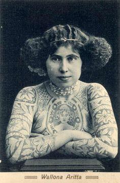 Wallona Aritta, a postcard of one of Australia's tattooed ladies