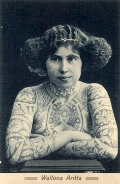 Wallona Aritta, a postcard of one of Australia's tattooed ladies #tatts #ink #tattoo