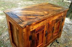 A beautiful piece of furniture made from recycled material.