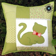 Patchwork pillow with hand embroidery, button closure with . - Image + - Patchwork pillow with hand embroidery, button closure with … – - Applique Cushions, Patchwork Cushion, Sewing Pillows, Quilted Pillow, Applique Quilts, Cushion Embroidery, Baby Pillows, Throw Pillows, Cat Cushion