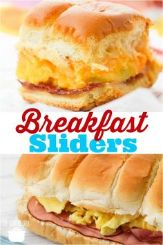 Breakfast Sliders recipe from The Country Cook #breakfast #easy #recipes #ideas #ham #egg #cheese #rolls #baked #brunch