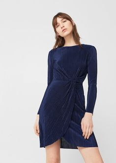 Knot pleated dress -  Women | MANGO USA