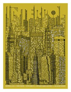 Interpol - 3 color silkscreen – S/N edition of 200 – The illustration mixes both real and fictional buildings from NYC, I've also included buildings that have been proposed for 2011 and beyond. I really wanted to condense some of the energy of the city into one image. I've only visited the city three times but things like the noise, lights and crowds have stayed with me. I felt like maybe I could recapture some of that energy drawing this one window at a time.