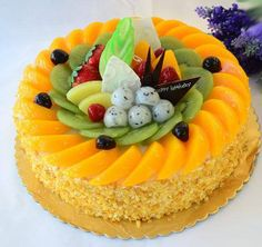 Easy Cake Decorating Themes And Ideas Fun Cupcakes, Cupcake Cakes, Fresh Fruit Cake, Fruit Fruit, Fruit Birthday Cake, Cake Recipes, Dessert Recipes, Mango Cake, Cake Icing