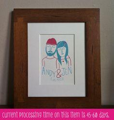 Custom portrait, wedding gift for couple, custom couple portrait, custom family portrait 5x7